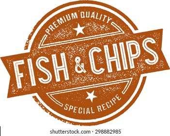 Authentic Fish and Chips Restaurant Menu Stamp