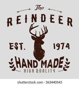 Authentic hipster logotype with reindeer and arrows.
