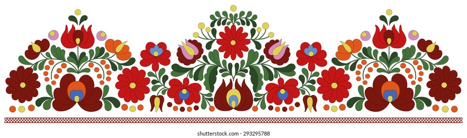 Authentic Hungarian matyo embroidery pattern used for borders