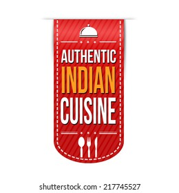 Authentic indian cuisine banner design over a white background, vector illustration
