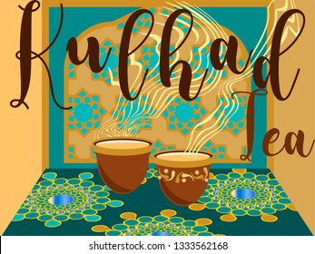 Authentic indian tea-cutting chai.Traditional chai glass.Vector for design flyer,invitation, card, poster.