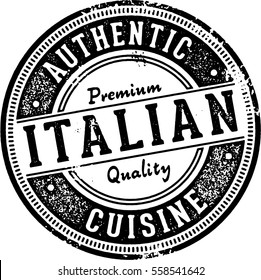 Authentic Italian Cuisine Restaurant Stamp