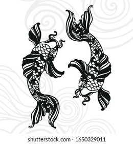 Authentic japanese art tattoo style koi fish with waves black for laser cutting