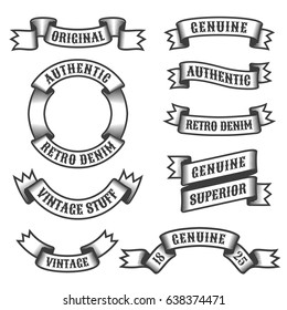 Authentic retro vintage ribbons and banners on white background. Vector illustration