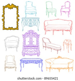 authentic rococo furniture colored doodles and mirror isolated on white