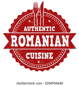 Authentic romanian cuisine grunge rubber stamp on white background, vector illustration