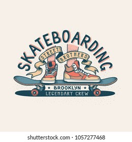 Authentic Skateboarding vintage print design for T-shirt with legs in sneakers standing on skateboard and heraldic ribbon with inscriptions.