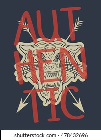 Authentic tiger typography, t-shirt graphics, vectors