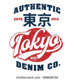 Authentic Tokyo Denim Co.- Tee Design For Print