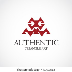 Authentic of triangle art abstract vector and logo design or template decoration business icon of company identity symbol concept