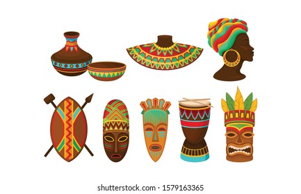 Authentic Tribal African Attributes Vector Set. African Traditions and Culture Concept