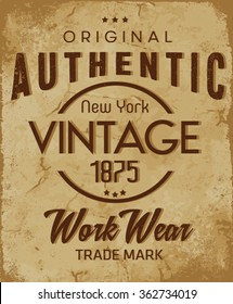 Authentic vector, T-shirt graphics / textile graphic, vintage
