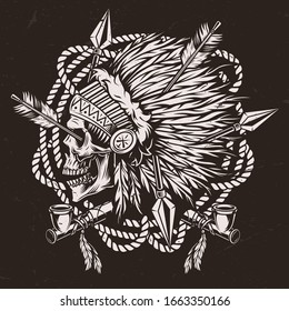 Authentic wild west monochrome concept with smoking pipes and american indian chief skull in feathers headwear pierced by arrows isolated vector illustration