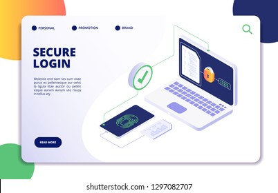 Authentication isometric concept. Password, login authorization fingerprint access. Data safe and protection landing vector page