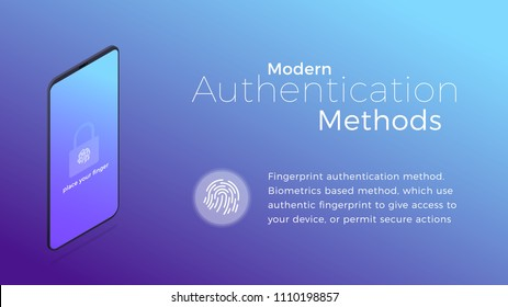 Authentication. Modern biometric fingerprint authentication method. Isometric concept of modern digital security