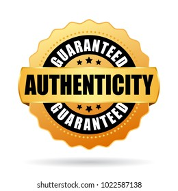 Authenticity guaranteed gold vector emblem on white background