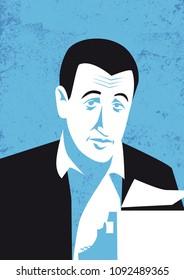 Author J.D. Salinger, vector portrait