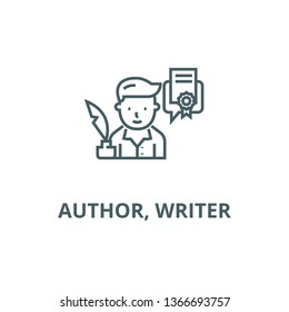Author, writer line icon, vector. Author, writer outline sign, concept symbol, flat illustration