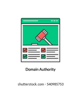 Authority of a domain on web, Domain Strength, Conceptual icon of domain authority isolated on white background
