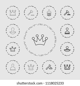 Authority icon. collection of 13 authority outline icons such as crown, stamp, auction hummer. editable authority icons for web and mobile.