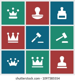 Authority icon. collection of 9 authority filled icons such as stamp, crown, auction hummer. editable authority icons for web and mobile.