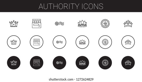 authority icons set. Collection of authority with crown, tampon, stamp. Editable and scalable authority icons.