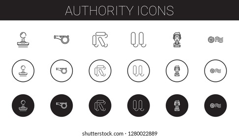 authority icons set. Collection of authority with stamp, whistle, tampon, marshall. Editable and scalable authority icons.