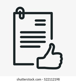 Authorization Approval Document Minimalistic Flat Line Outline Stroke Icon Pictogram Symbol