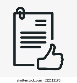 Authorization Approval Document Minimalistic Flat Line Outline Stroke Icon Pictogram Symbol