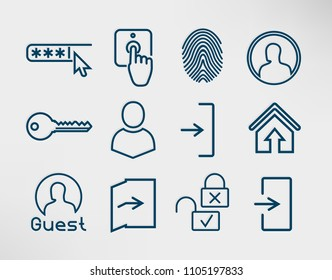 Authorization Line Icons Set: Login, Enter, Authorize, Password, Fingerprint, Profile, Key, Lock, Door, Arrow Icon. Vector black on white for Website UI