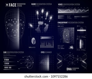 Authorization verification biometric scanners white background with futuristic identification interface images fingerprints and infographic design elements vector illustration