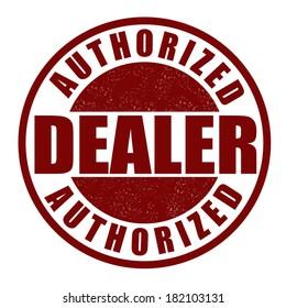 Authorized dealer grunge rubber stamp on white, vector illustration