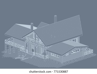 The author's architectural project of the bricks and wooden building from glued beams, roofs, terrace, residential house , 3d, perspective, blueprint. Vector.