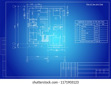 The author's architectural project of the  building, residential house, 3d, plan, blueprint. Vector.