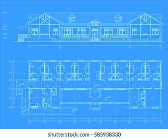 The author's architectural project of the country hotel, the blueprint. Vector