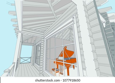 Piano blueprint images stock photos vectors shutterstock the authors architectural project of the wooden building from glued beams roofs terrace malvernweather Image collections