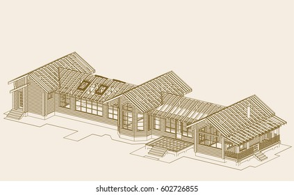 The author's architectural project of the wooden building from glued beams- country fitness club, gymnasium, axonometric view, the blueprint. Vector