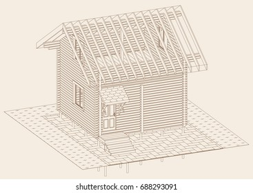 The author's architectural project of the wooden building from glued beams, rafters, roofs, terrace, residential house , 3d, isometric, a view from a height, blueprint. Vector.