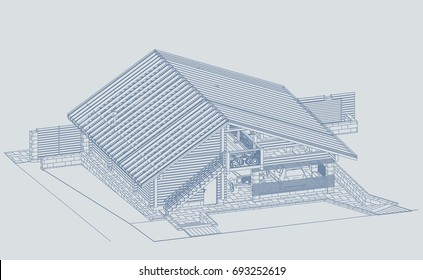 The author's architectural project of the wooden building from glued beams, rafters, roofs, garage and a carport, 3d, isometric, a view from a height, blueprint. Vector.