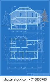 The author's architectural project of the wooden building from glued beams, roofs, 3d, the plan and section, blueprint.