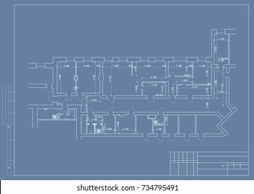 Authoru0027s Design Of Hospital And Clinic, Plane, 3d. Blueprint. Vector.