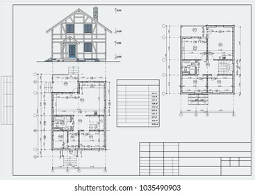 Author's design of residental house of brick and half-timbered frames with terrace. 3d, the plans and elevation. Blueprint. Vector.