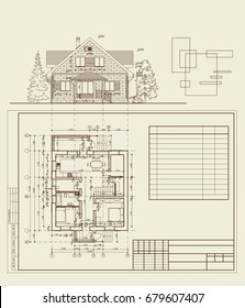 Author's design of residential house, blueprint, plan and elevation, dimensions, frame for text. 3d,cad plan, realistic. Vector