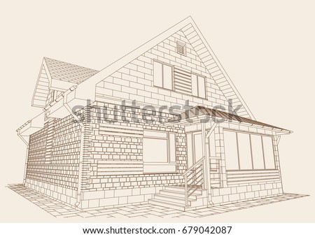 Authors Design Residential House Blueprint Perspective Stock Vector on house color design, house structure design, house elevation design, house sketch design, house architecture design, house colour design, house art design, house lighting design, house framing design, house light design, modern house design, house truss design, house plot design, house plan design, house drawing design, house blueprint design, house landscape design, house painting design, house front design, house outline design,