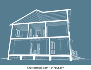 House front view images stock photos vectors shutterstock the authors project blueprint of architectural design of brick residential house with the terrace malvernweather Choice Image