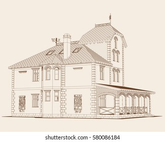 The author's project of a residential building in the style of post-modern, stylized medieval castle, the view from the other side. Vector.