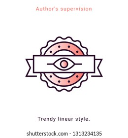 Author's supervision icon in vector line style. Architecture supervision trendy emblem in minimal graphic on background. App template on white background. Ui design elements.