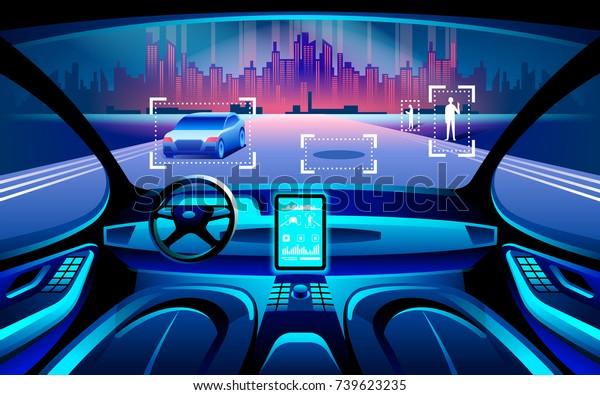 Autinomous умный автомобиль инерционный. Самостоятельное вождение в ночное время городской пейзаж. Дисплей показывает информацию о транспортном средстве движется, GPS, время в пути, сканирование расстояние Помощь приложение. Будущая концепция