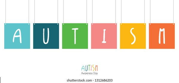 Autism awareness banner with hanging banners and letters of autism in ink brush style. Vector illustration for autism awareness day.