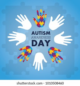 autism awareness concept with hand of puzzle pieces as symbol